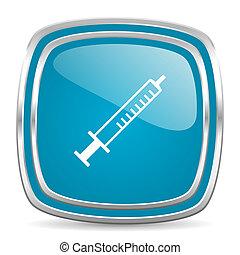 medicine blue glossy icon - blue web icon
