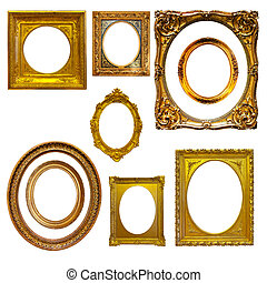 Set of oval picture frames Isolated on white