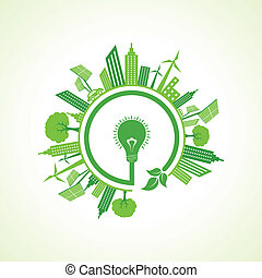Ecology concept with eco bulb stock vector