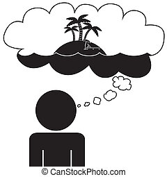 Man dream at vacation - Illustration (vector) of a person...