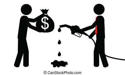 Man buy petrol - Illustration (vector) of a person that is...