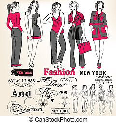 Fashion vector stylish girls - Vector set of sketch with...