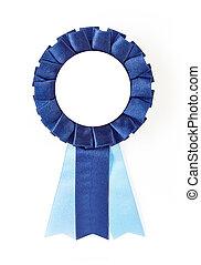 award rosette - blue award rosette on a white background