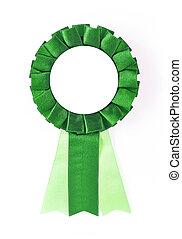 award rosette - green award rosette on a white background