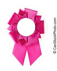 award rosette - pink award rosette on a white background