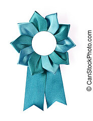 award rosette - blue award rosette on a white background