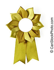award rosette - gold award rosette on a white background
