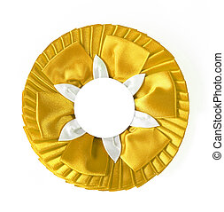 award rosette - yellow award rosette on a white background