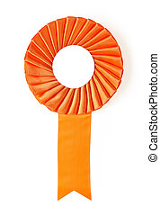 award rosette - orange award rosette on a white background