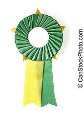 award rosette - green and yellow award rosette on a white...
