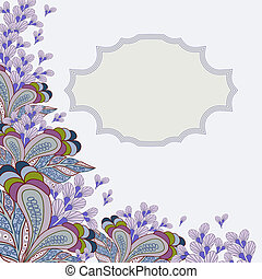 Greeting card with flowers and plac - Seamless pattern with...
