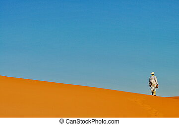 MERZOUGA DESERT - OCTOBER 01: Man in traditional Berber...