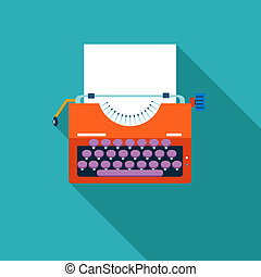 Retro Vintage Creativity Symbol Typewriter and Paper Sheet...