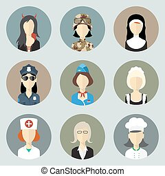 Colorful women in uniform circle icons set modern flat style eps