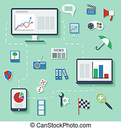 Flat design vector infographic concept with icons.