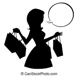 Shopping girl silhouette with empty speech bubble