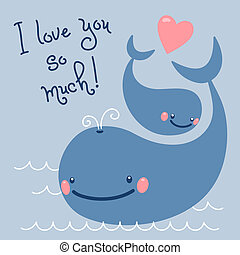 Happy Fathers Day Card with cute whales Vector illustration...