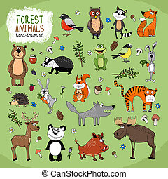 forêt, animaux, hand-drawn, Illustration