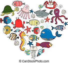 fish and marine animals in shape of heart, vector eps10...