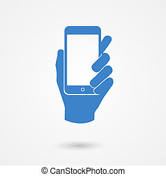 Blue icon with hand holding a smart mobile phone - Stylized...