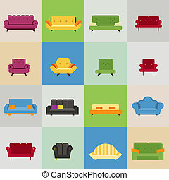 sofa and armchair icons