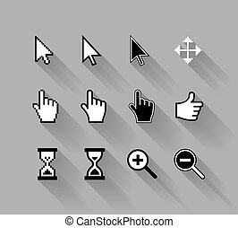 cursors with long shadows - vector cursors with long...