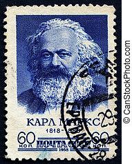 Karl Marx - SOVIET UNION, CIRCA 1958: Postage stamp printed...
