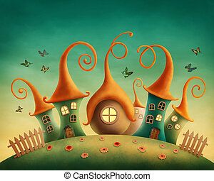 Fantasy houses in the meadow