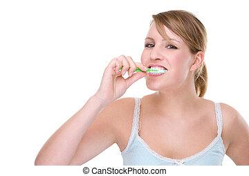 mulher, escova de dentes