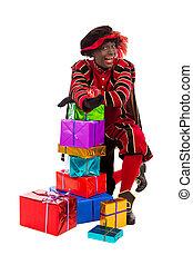 Black Pete zwarte piet showing gift - zwarte piet ( black...