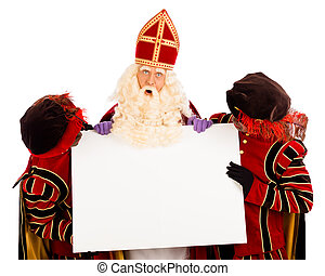 Sinterklaas and zwarte pieten with whiteboard - Sinterklaas...