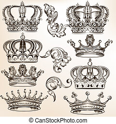 Collection of vector detailed crowns - Vector set of crowns...