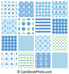 marine seamless patterns - Set of marine seamless patterns...