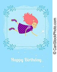 Birthday card with fairy - Vector birthday card with fairy...