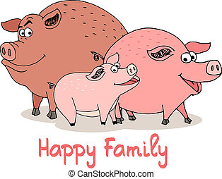 Happy Family of fun cartoon pigs with a boar sow and baby...