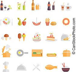 Large set of food and beverage icons with wine beer fruit...