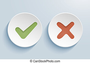 Yes and No - vector Yes and No check marks on circles