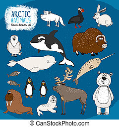 Set of hand-drawn arctic animals on a cold blue background...