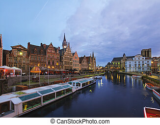 Buildings With Tourboats, Ghent - View of old harbour with...