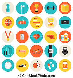 Fitness and sport flat icons set - Flat icons set of...
