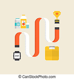 Weight loss flat illustration concept - Healthy lifestyle...