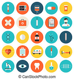 Medical and healthcare flat icons set - Flat icons set of...