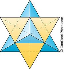 Merkabah, -, estrella, tetraedro