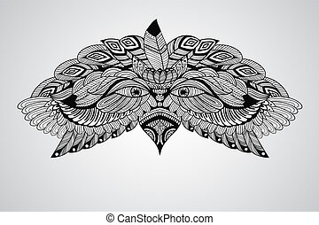 Vector Tattoo Eagle Head - vector tattoo black hand drawn,...