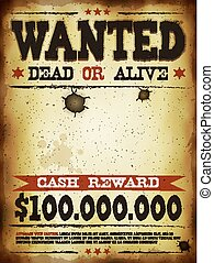 Wanted Vintage Western Poster - Illustration of a vintage...