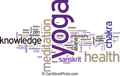 YOGA Word collage on white background Vector illustration