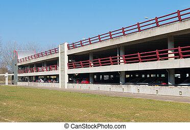 parking garage - exterior or a three floors parking garage