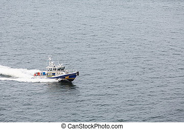 NYPD Patrol Boat - A New York City Police Boat Speeding...