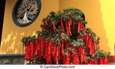 Prayer Tree - Bush full of Chinese prayer ribbons, Jade...