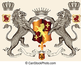Heraldic design with lions and shie - Vector heraldic...